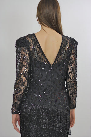 80s Gatsby Deco cocktail party Sequin Beaded dress - shabbybabe  - 5