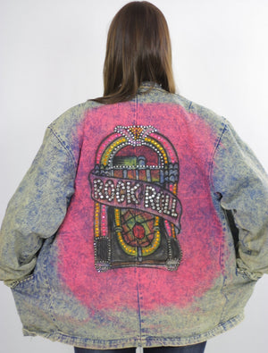 80s acid wash denim jacket tie dye Jukebox Studded Rock N Roll - shabbybabe  - 1