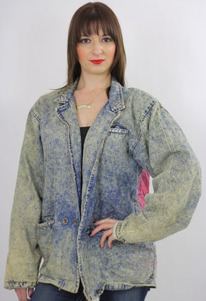80s acid wash denim jacket tie dye Jukebox Studded Rock N Roll - shabbybabe  - 5