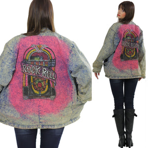 80s acid wash denim jacket tie dye Jukebox Studded Rock N Roll - shabbybabe  - 2