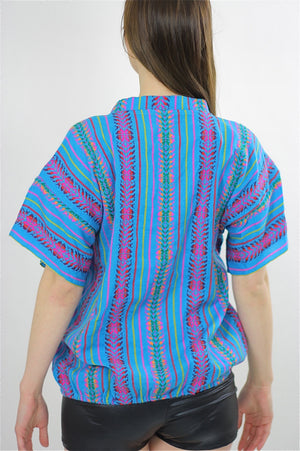 Tribal shirt Ethnic woven tunic Vintage 70s Hippie Boho abstract Gypsy kimono short sleeve striped Dashiki Deep V Embroidered Medium - shabbybabe  - 3