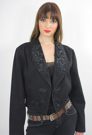 Beaded Jacket Cocktail Party Blazer Gypsy Festival Black sequin gothic long sleeve Deep V Cropped top Medium - shabbybabe  - 1