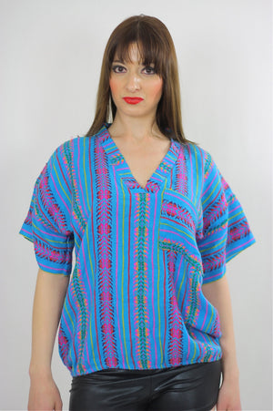 Tribal shirt Ethnic woven tunic Vintage 70s Hippie Boho abstract Gypsy kimono short sleeve striped Dashiki Deep V Embroidered Medium - shabbybabe  - 1
