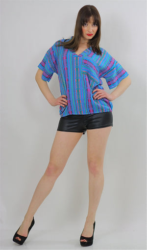 Tribal shirt Ethnic woven tunic Vintage 70s Hippie Boho abstract Gypsy kimono short sleeve striped Dashiki Deep V Embroidered Medium - shabbybabe  - 4