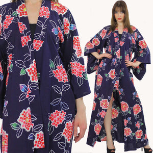 Japanese Kimono Robe abstract floral Vintage 70s  Navy asian ethnic festival Maxi dress Cotton Large - shabbybabe  - 1