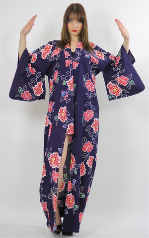 Japanese Kimono Robe abstract floral Vintage 70s  Navy asian ethnic festival Maxi dress Cotton Large - shabbybabe  - 2