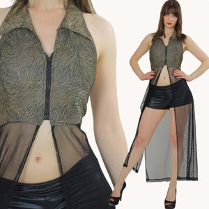 90s grunge boho sheer lace net coverup duster top - shabbybabe  - 2