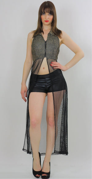 90s grunge boho sheer lace net coverup duster top - shabbybabe  - 1