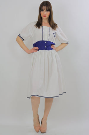 80s Navy White Nautical sailor mini dress - shabbybabe  - 1