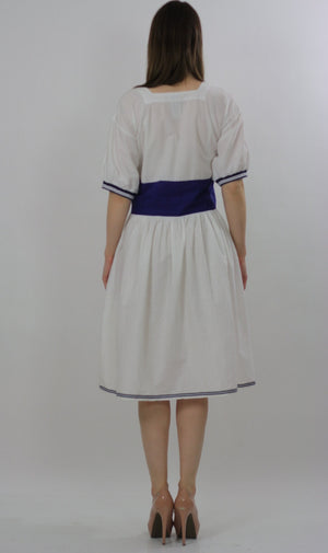 80s Navy White Nautical sailor mini dress - shabbybabe  - 4