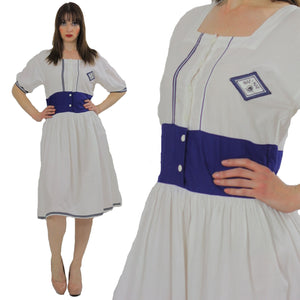 80s Navy White Nautical sailor mini dress - shabbybabe  - 3