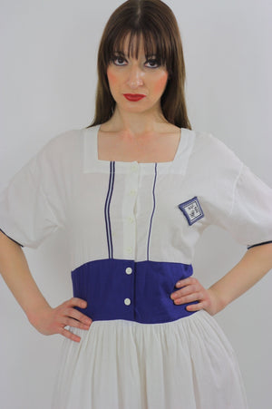 80s Navy White Nautical sailor mini dress - shabbybabe  - 2