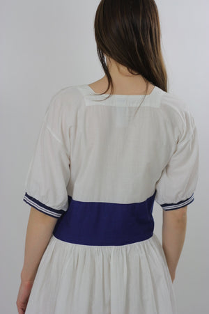 80s Navy White Nautical sailor mini dress - shabbybabe  - 5