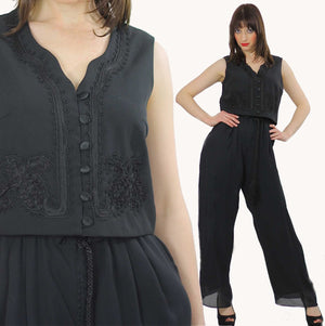 80s high waist Black gypsy wide leg Palazzo jumpsuit M - shabbybabe  - 2