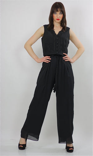 80s high waist Black gypsy wide leg Palazzo jumpsuit M - shabbybabe  - 1