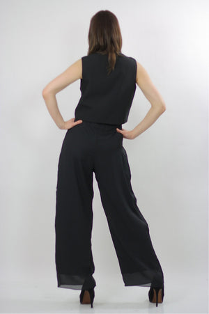 80s high waist Black gypsy wide leg Palazzo jumpsuit M - shabbybabe  - 3