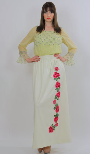 White floral skirt embroidered boho dress vintage 1970s rose appliqu̩ cocktail party roses motif Medium - shabbybabe  - 2