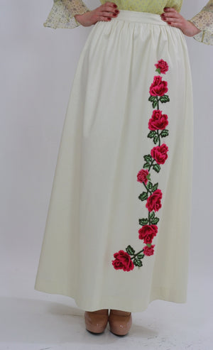 White floral skirt embroidered boho dress vintage 1970s rose appliqu̩ cocktail party roses motif Medium - shabbybabe  - 5