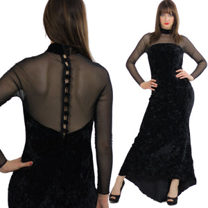 sheer goth dress boho maxi velvet partyVintage 1990s gothic body con lace net boho cocktail open back button up gown Medium - shabbybabe  - 2