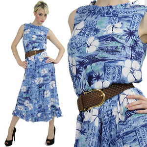 Floral maxi Dress 60s Blue Hawaiian Sundress Shift sleeveless Tropical Vintage sheath Summer Maxi dress Medium - shabbybabe  - 2