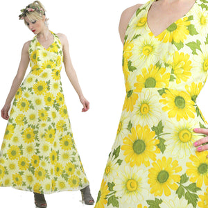 sunflower dress Hippie halter maxi Boho yellow Vintage 1970s sundress Empire Deep V plunging Medium - shabbybabe  - 1
