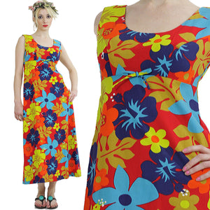 Tropical dress Boho Hippie 1970s neon floral maxi Festival sleeveless Sundress Empire Waist Medium - shabbybabe  - 2