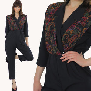 paisley jumpsuit Hippie Boho wrap surplus romper 1980s black criss cross long sleeve high waist tapered leg  Deep V romper jumpsuit Small M - shabbybabe  - 1