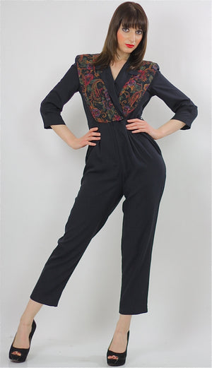 paisley jumpsuit Hippie Boho wrap surplus romper 1980s black criss cross long sleeve high waist tapered leg  Deep V romper jumpsuit Small M - shabbybabe  - 2