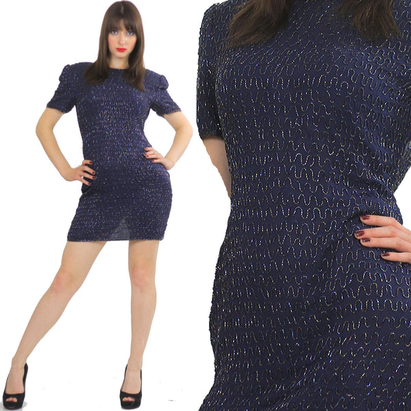 Sequin beaded dress Navy blue Vintage 80s little black cocktail party Mod retro short sleeve wiggle  Small - shabbybabe  - 1