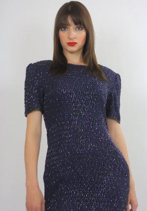 Sequin beaded dress Navy blue Vintage 80s little black cocktail party Mod retro short sleeve wiggle  Small - shabbybabe  - 4
