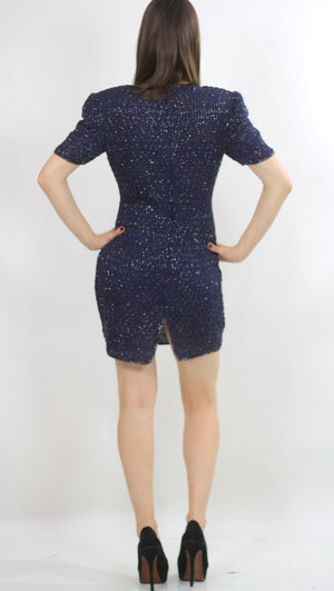 Sequin beaded dress Navy blue Vintage 80s little black cocktail party Mod retro short sleeve wiggle  Small - shabbybabe  - 3