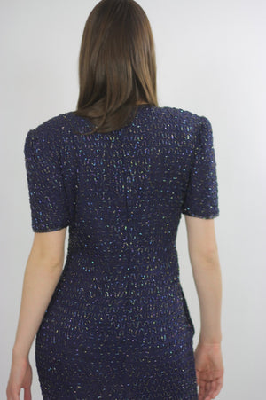 Sequin beaded dress Navy blue Vintage 80s little black cocktail party Mod retro short sleeve wiggle  Small - shabbybabe  - 5