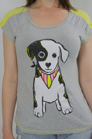Puppy Tshirt Puppy dog Tshirt dog Tee Graphic Dog T shirt Puppy Tee shirt Grey dog T shirt S Small - shabbybabe  - 4