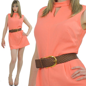 Vintage Boho mini dress Mod Festival dress  Space age cut out sleeveless M - shabbybabe  - 1