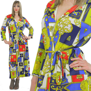 Vintage Boho Travel lite robe retro Hippie caftan Geometric robe wrap robe Small S - shabbybabe  - 2