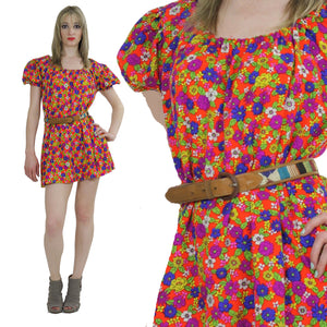 70s Bohemian off shoulder  mini dress - shabbybabe  - 2
