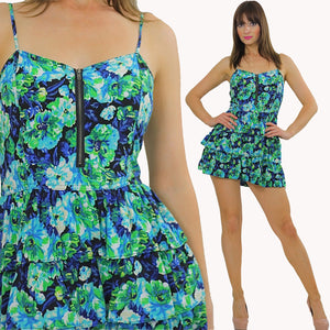 80s Tropical floral mini tiered Ruffle sun Dress - shabbybabe  - 2