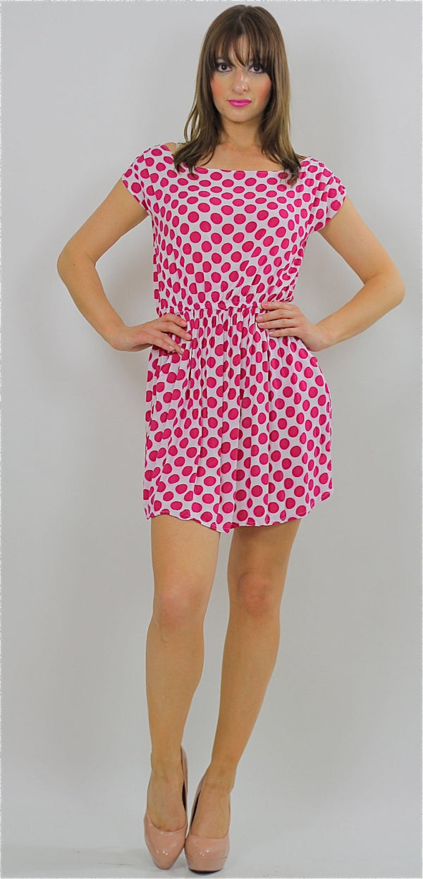 80s Red Polka dot Dress boho grunge polkadot mini sundress - shabbybabe  - 1