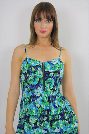 80s Tropical floral mini tiered Ruffle sun Dress - shabbybabe  - 4
