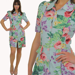 80s Tropical Floral button up mini dress - shabbybabe  - 3