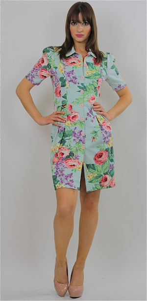 80s Tropical Floral button up mini dress - shabbybabe  - 1