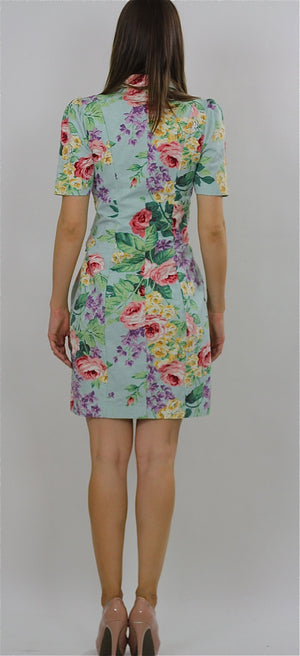80s Tropical Floral button up mini dress - shabbybabe  - 4