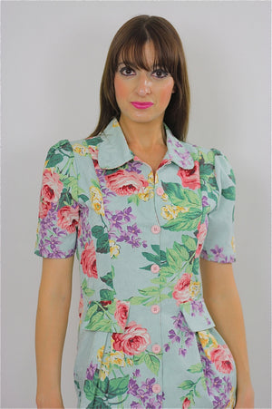 80s Tropical Floral button up mini dress - shabbybabe  - 2