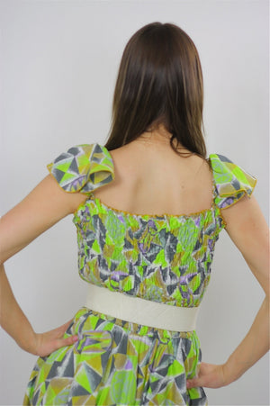 Vintage 80s Neon tribal mini scarf handkerchief dress - shabbybabe  - 5