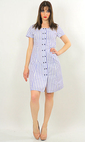 Vintage 60s Boho mod striped Nautical sailor mini dress - shabbybabe  - 1