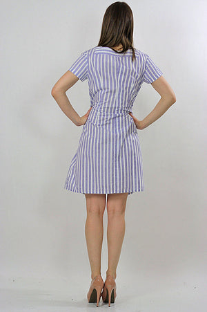 Vintage 60s Boho mod striped Nautical sailor mini dress - shabbybabe  - 2