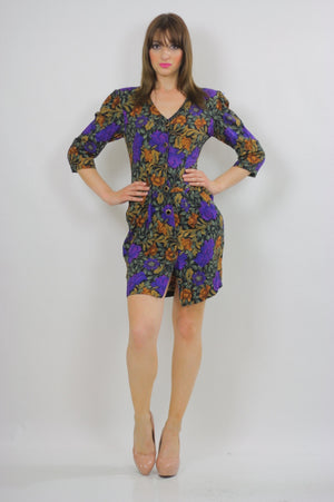 80s fitted purple floral wiggle mini dress - shabbybabe  - 3