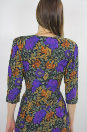 80s fitted purple floral wiggle mini dress - shabbybabe  - 5