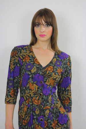 80s fitted purple floral wiggle mini dress - shabbybabe  - 1