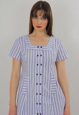 Vintage 60s Boho mod striped Nautical sailor mini dress - shabbybabe  - 3